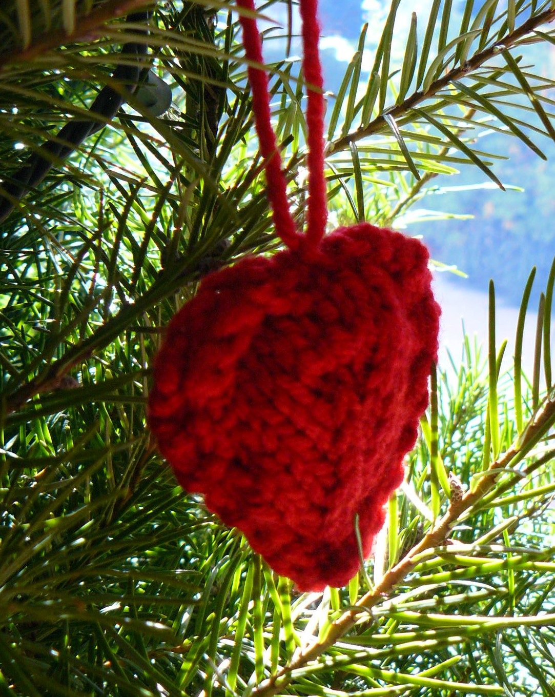 knitted heart hanging on branch